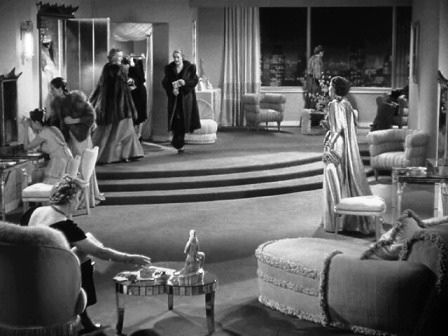 "Scene from the 1939 film, ""The Women,"" inspiration photo for Art Deco bungalow made from an old Firestone radio cabinet:"