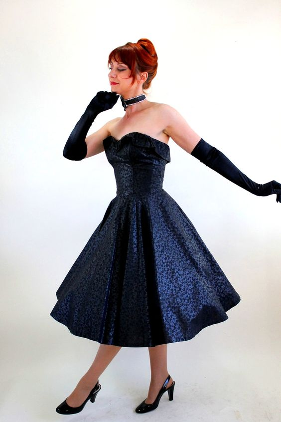 1950s Black Dress. Cocktail Dress. Holiday Party Dress. Mad Men ...