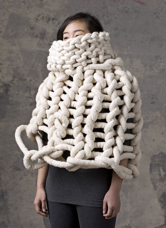 Sculptural Knitwear Design - cocoon top with oversized knit detail; wearable art // Yulie Urano