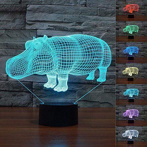 Superniudb 3d Hippo Night Light Led Usb 7 Color Change Led Table Lamp Xmas Toy Gift Led Night Light Night Light Desktop Lamp