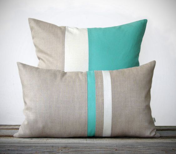 Mint Pillow Set - (12x20) Stripe and (20x20) Color Block by JillianReneDecor - Modern Home Decor ...