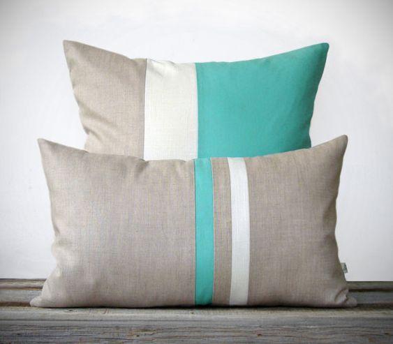 Modern Beach Pillow : Mint Pillow Set - (12x20) Stripe and (20x20) Color Block by JillianReneDecor - Modern Home Decor ...