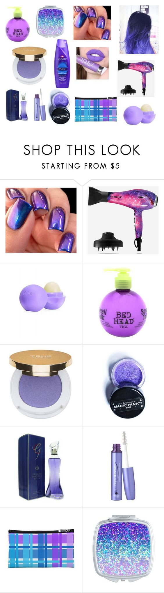 """Purple Makeup"" by nmekonnen28 on Polyvore featuring beauty, Eva NYC, Eos, Bed Head by TIGI, Isaac Mizrahi, Manic Panic, Giorgio Beverly Hills and RapidLash"