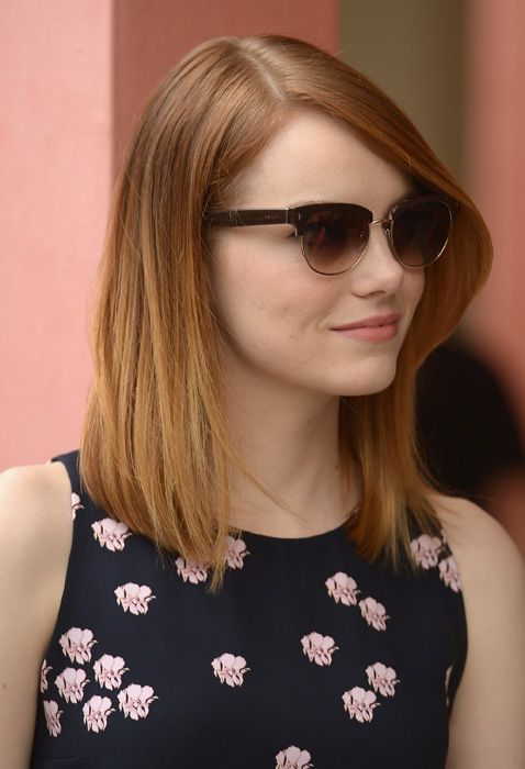Emma Stone - my hair is almost this length omg!! Only like 1 more month or so :) hello summer