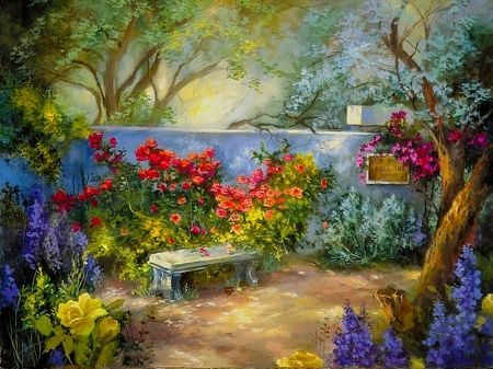Secret garden - garden, beautiful, flowers, lovely, flower, wall ...