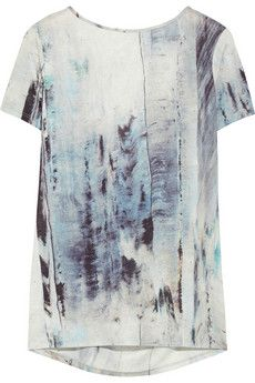 Helmut Lang Draped-back printed jersey top | NET-A-PORTER