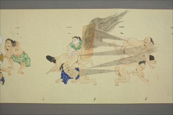 昔の人はすごかった……互いを屁でぶっ飛ばすバトルを描いた江戸時代の奇想天外な絵巻物「屁合戦絵巻」 - DNA