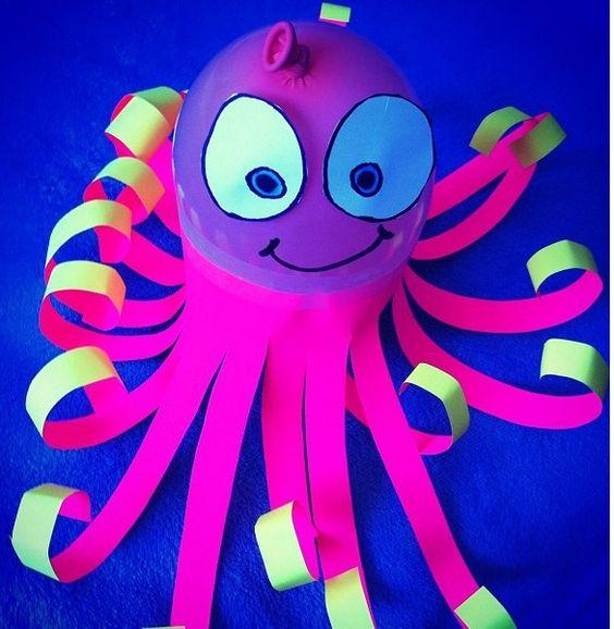 Sea week here i come octopus balloon craft school for Octopus craft for preschool