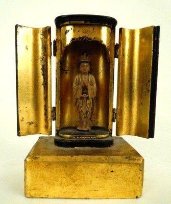 Antique Japanese Miniature Carved Wood Gilt Lacquer Zushi Shrine w Buddha