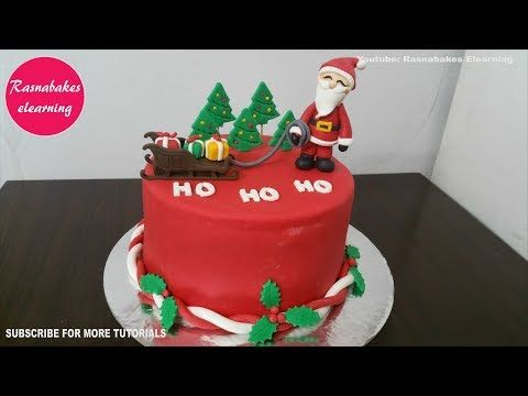 Santa Claus Christmas Xmas Themed Cake Decorating Tutorial Video At Home Classes Courses Themed Cakes Christmas Themed Cake Cake Decorating Tutorials Videos