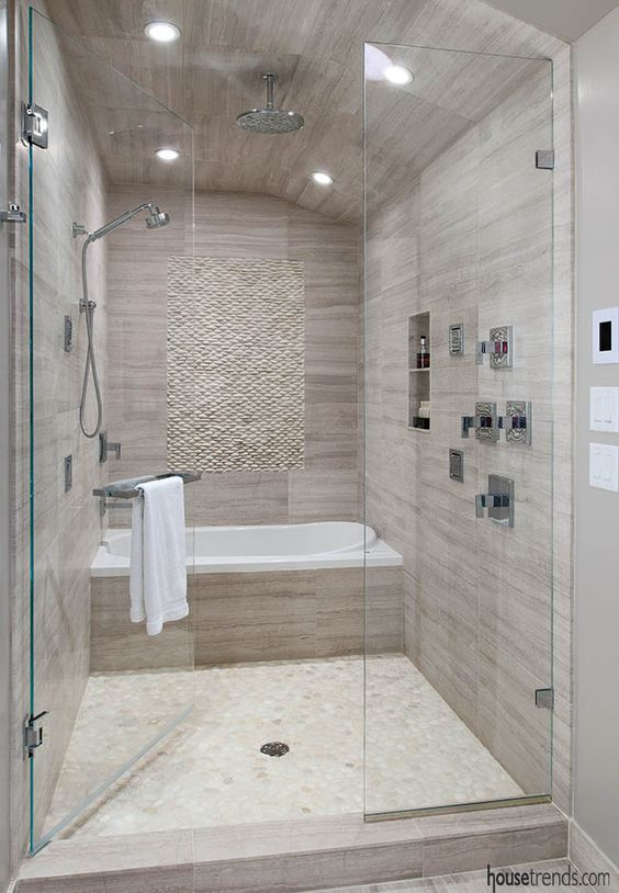 Bathroom design brings two spaces together..bathtub in the shower??!! Wonderful!: