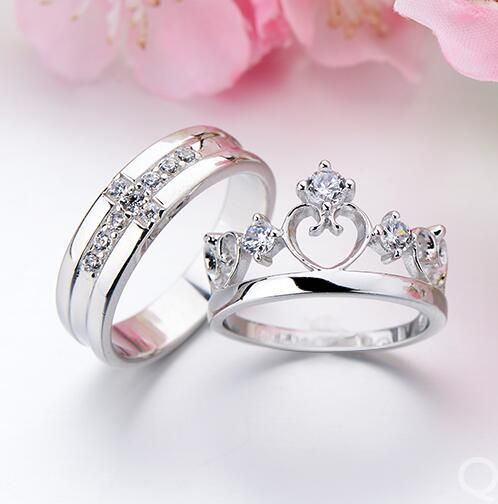 3pc crown created white sapphire wedding set crown ring and bling - Wedding Rings For Him And Her