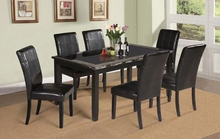 Blythe Collection 71060t6c 7 Pc Dining Room Set With Dining Table