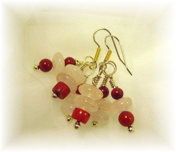 SALE Rose Pink Quartz  & Red Coral  Earrings by cowboysindians, $9.99