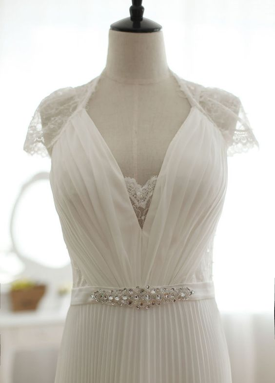 Vintage inspired pleated column lace wedding dress full for Tulip wedding dress style