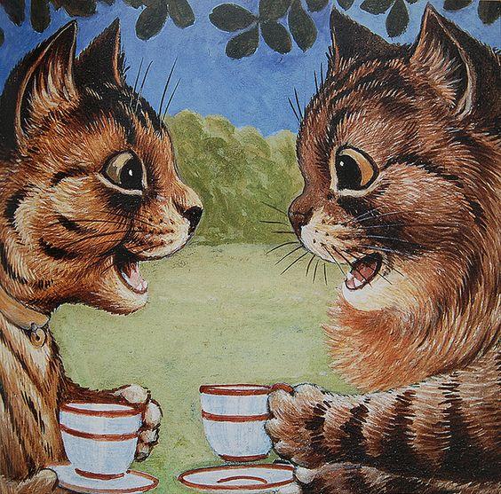 Louis Wain  - Cats chatting over tea/coffee