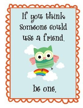 Owl Themed Motivational Posters Set 2 | Friendship, Young ... Friends With Kids Poster