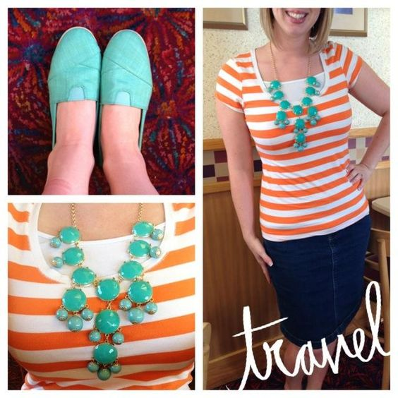Orange and Turquoise. Toms. Statement Necklace. Modern Modesty
