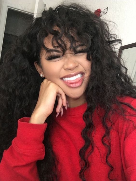 36++ Curly sew in with bangs Type