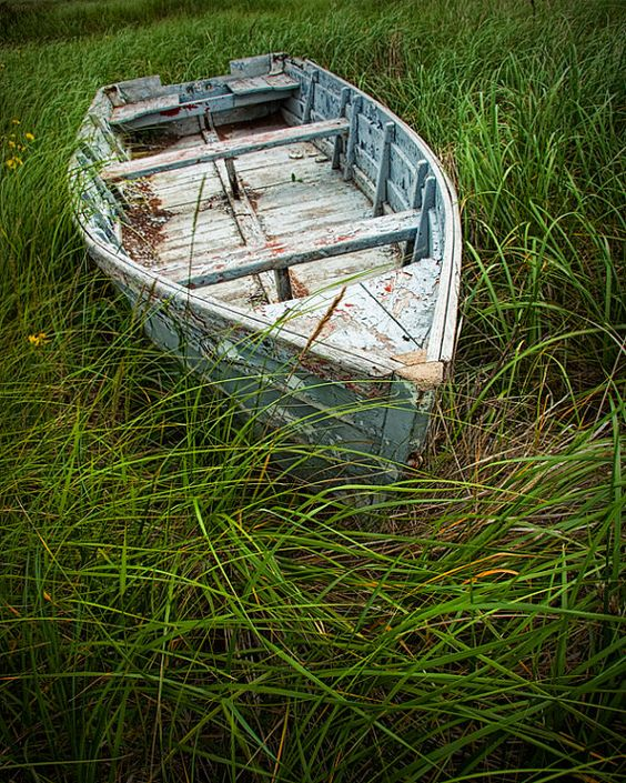 Old Weathered Wooden Row Boat abandoned in the by RandyNyhofPhotos, $12.00: