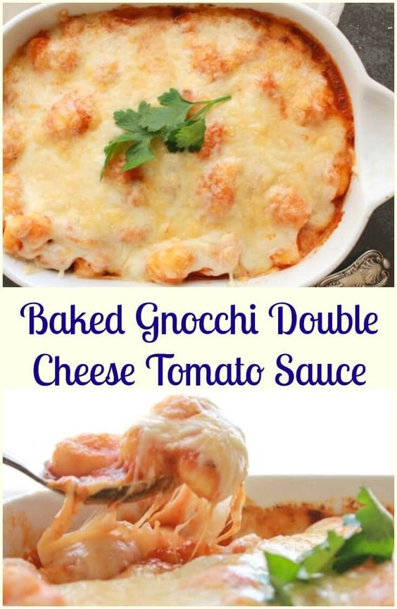 Baked Gnocchi Double Cheese Tomato Sauce a fast and easy pasta recipe, baked in…