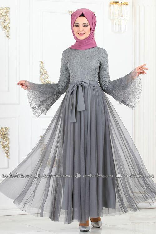 Modaselvim Elbise Volan Kol Kemerli Elbise 81671bn105 Gri Elbise Moda Stilleri Islami Giyim