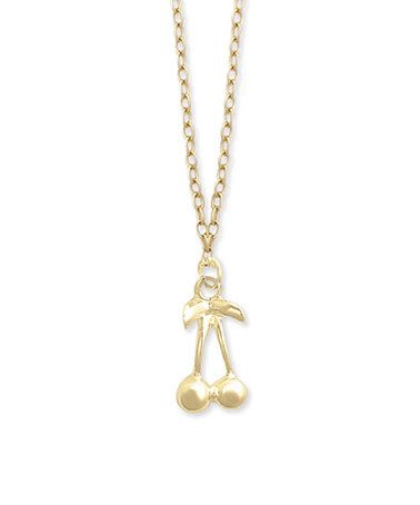 Loving this Goldtone Cherry Pendant Necklace on #zulily! #zulilyfinds