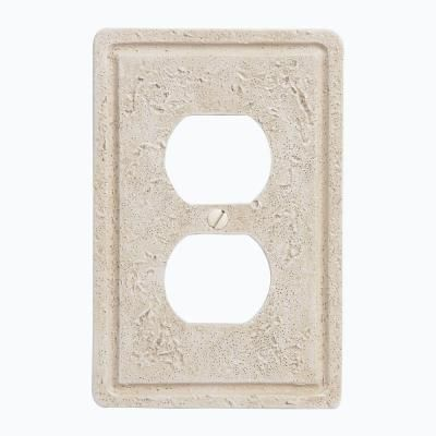 Amerelle, Faux Stone 1 Duplex Wall Plate - Toasted Almond, 8347D at The Home Depot