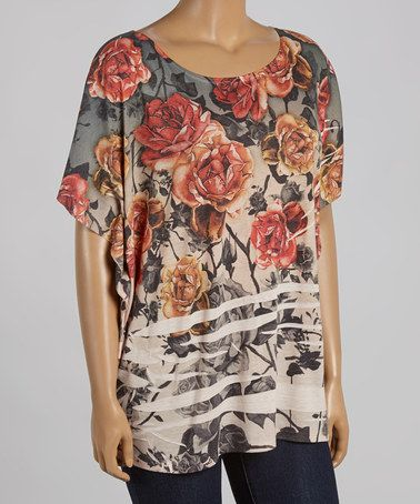 This Red & Black Floral Sublimation Top - Plus by Poliana Plus is perfect! #zulilyfinds