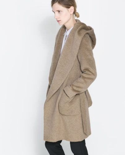 Zara Belted Coat with Hood s Small Dark Camel Jacket Car Coat
