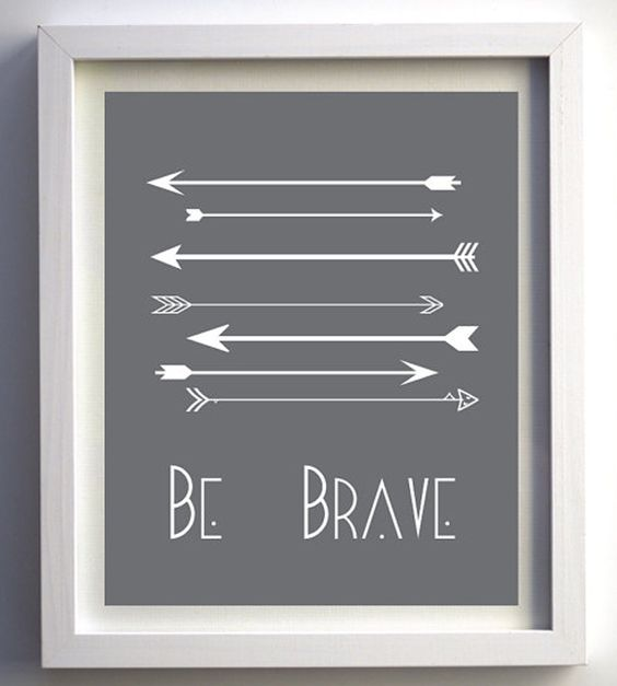 """Be Brave"" Nursery Wall Art with Arrows - #nursery #wallart #artprint"