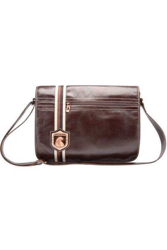 Leather men's bag for laptop with clasp Nordweg... Bolso de hombre en piel con solapa para portátil Nordweg...