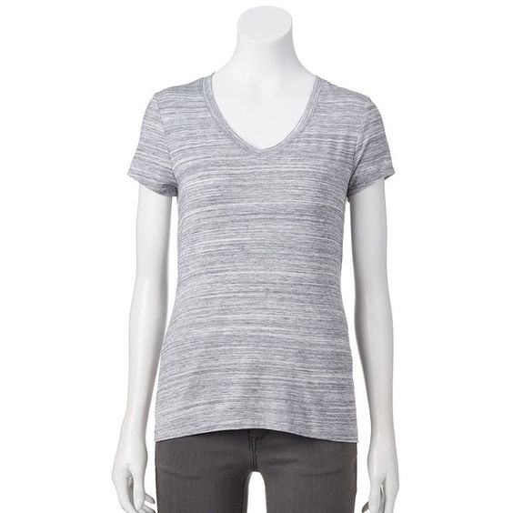 Petite Apt. 9® Essential V-Neck Tee ($18) ❤ liked on Polyvore featuring tops, t-shirts, grey other, petite, petite tops, jersey t shirts, v-neck tee, apt 9 t shirts and v-neck jersey