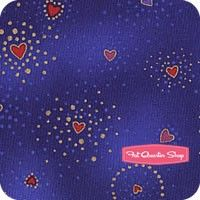 Laurel Burch Basics Dark Blue Metallic Hearts Yardage<BR>SKU