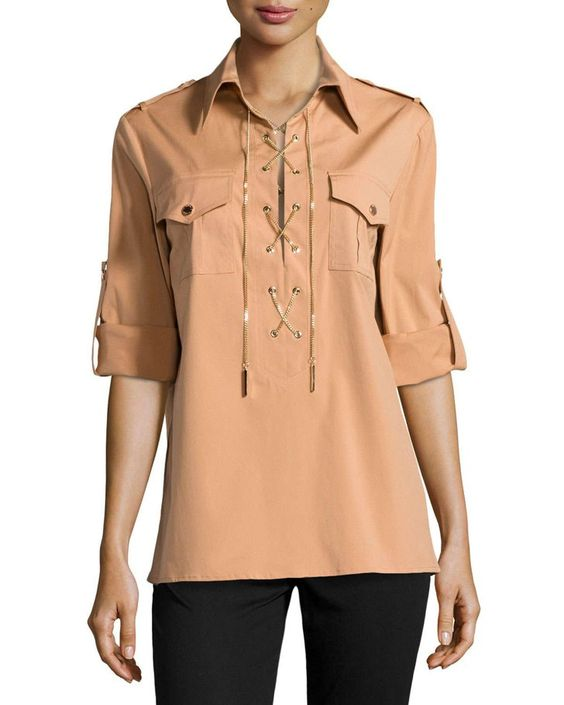 Pin for Later: This Website Is 100% Devoted to Helping You Find Nude Apparel Based on Your Skin Tone  Michael Kors Chain Front Safari Shirt (£404)