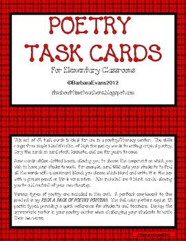 This set of 52 task cards is ideal for use in a poetry/literacy center. The skills range from simple identification of high frequency words to writing original poetry.  $6