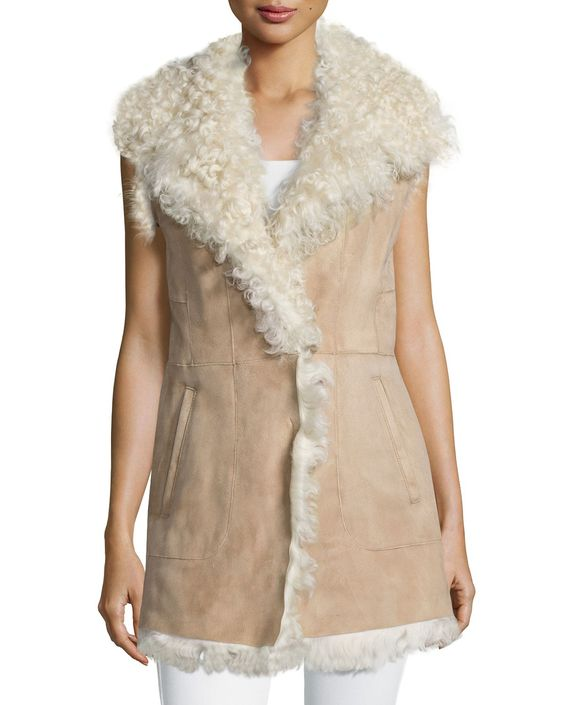Sleeveless Lamb Shearling Fur Vest, Women's, Size: XS/0-2, Tan W Cream Fur - Diane von Furstenberg