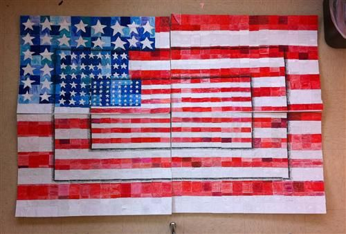 """WES interpretation of Jasper Johns """"Three Flags"""" Part of the Giving Back Project. This flag will be sent to a school in New Jersey who's school has been affected by Hurricane Sandy"""