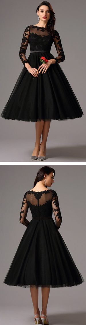 long lace sleeves tea length black cocktail dress