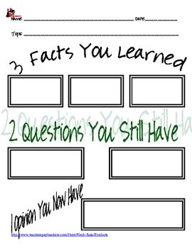 Are your students: watching a movie? listening to a guest speaker? going on a field trip? reading an article? Use one of these note sheets to help your students remember what they learn, or to see if your students understood what you wanted them to, or to take an easy grade on those activities.