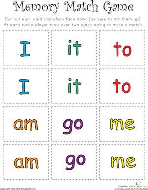 match game sight word memory match kindergarten reading
