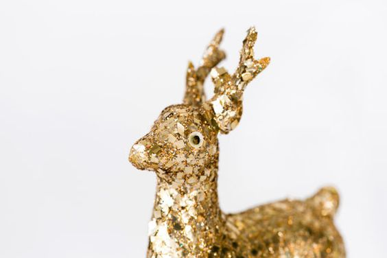 Vintage Celluloid Gold Glitter Reindeer by OysterHome on Etsy