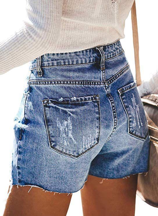 Women Vintage Denim High Waist Rolled Hem Jeans Shorts In 2020 Denim Jeans Ripped Ripped Denim High Waisted Denim