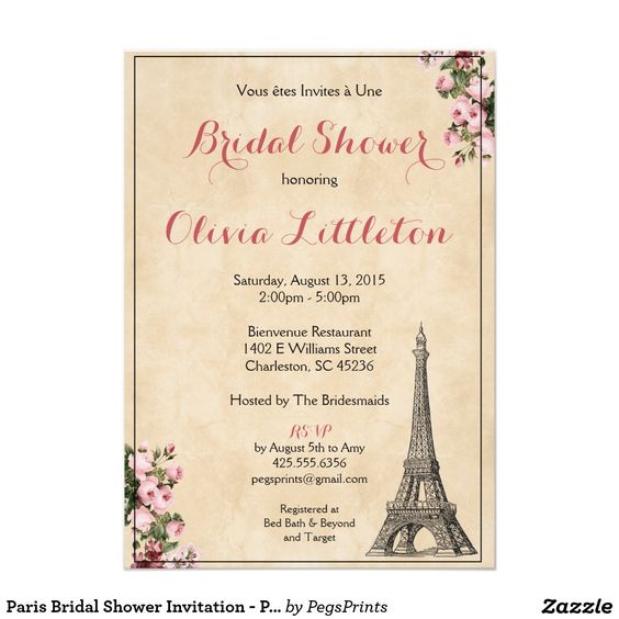 Paris Bridal Shower Invitation - Pink Floral