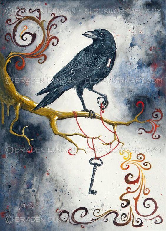 Heart Strings & Raven Wings: Fine Art Bird Print
