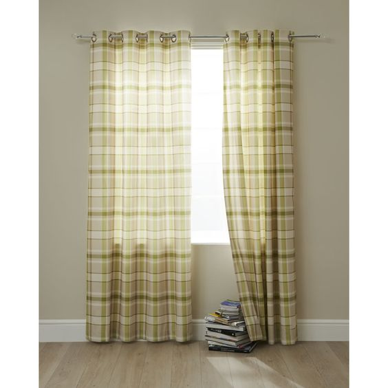 Curtains Ideas curtains for a green room : Wilko Curtains Green Check 228x228cm £55 | Living Room Series ...
