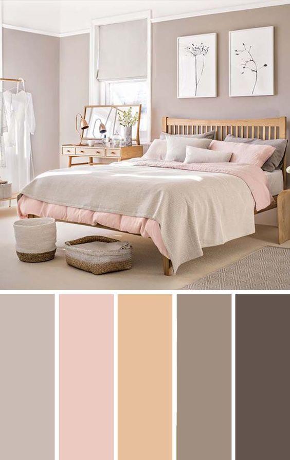 Pale Pink Taupe Bedroom Color Scheme #bedroom #color #scheme #decorhomeideas #colorchart