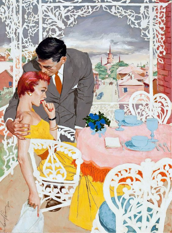 "Jim Schaeffing, ""Tippi Hedren and The Gentleman,"" magazine story illustration, c1950"