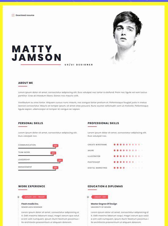 Free Html Resume Template Luxury 45 Best Best Html Resume Cv Vcard Templates Free Premium One Page Resume Creative Resume Template Free Resume Cv