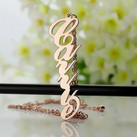 Rose Gold Vertical Carrie Style Name Necklaces Customized 10k Solid Rose Gold Nameplate Necklace Carrie Necklace Letter Jewelry-1003